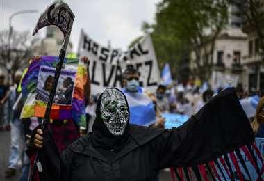 La protesta de los profesionales en salud. Foto AFP