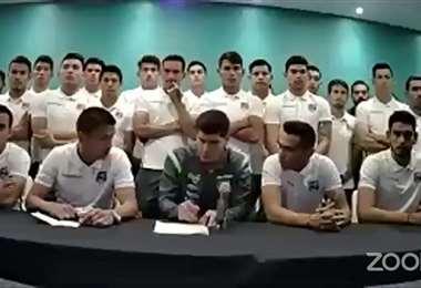 La conferencia de prensa de los jugadores de la selección.