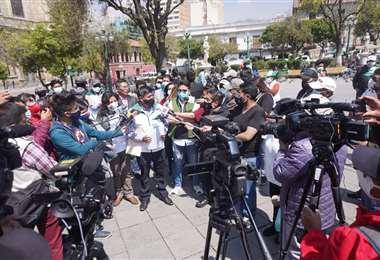 La conferencia de FPV en la Plaza Murillo. APG Noticias