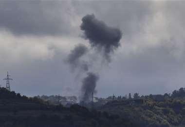 Un bombardeo en la ciudad de Shusha, cerca de Stepanakert, la capital. Foto: AFP