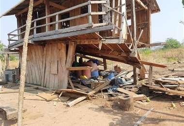 Las casas destruidas tras la intervención policial