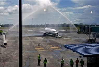 Llegada al aeropuerto de Panamá. Foto AFP