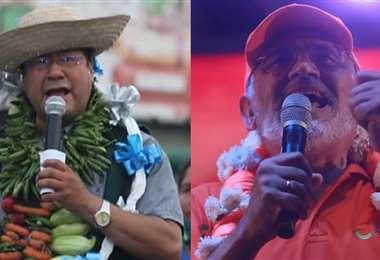 Los candidatos a presidente por CC y el Mas, Mesa y Arce, en el cierre de campaña