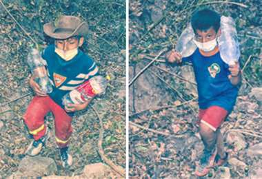 Nahun (iz) y Joel (dr) están trabajando en la zona afectada