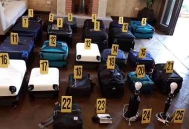 Las maletas incautadas. Foto Prensa Libre
