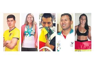 Lampe, Zeballos, Moscoso, Knijnenburg y Ribera son deportistas destacados. Foto: AFKA/APG