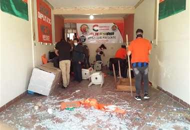 Así quedó la Casa de Campaña de Comunidad Ciudadana en Cochabamba.