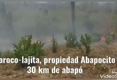 El incendio afectando Abaposito 1