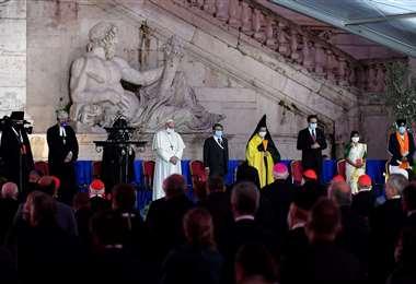Los líderes religiosos en el Capitolio del Vaticano. Foto AFP