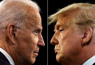 Biden y Trump en el último debate. Foto AFP