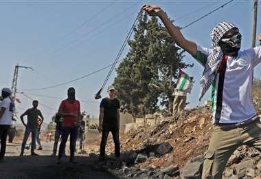 Los palestinos protestan. Foto AFP