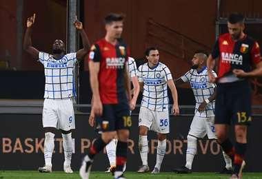El festejo de Lukaku. Aportó con un gol en el triunfo del Inter. Foto: AFP