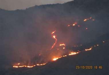 Incendio en el Parque Nacional Tunari/Foto: Tunari sin fuego