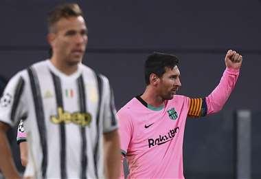 Messi celebrando el gol que le marcó a la Juventus. Foto: AFP