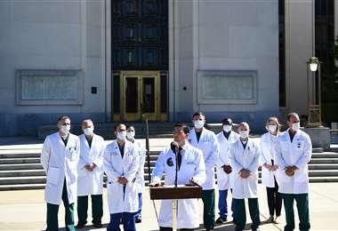 El equipo médico da su informe sobre la salud de Trump. Foto AFP
