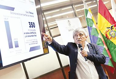 El ministro Arias, explicando el estado las empresas estatales/Foto: Bolivia