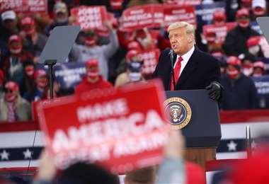 Trump habla en Reading (Pensilvania). Foto AFP