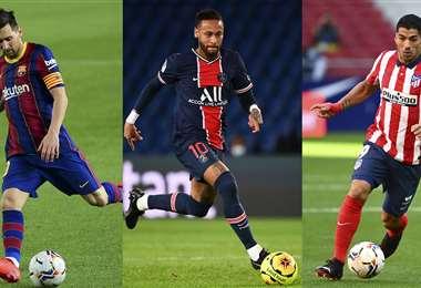 Messi, Neymar y Suárez con la camiseta de sus equipos. Foto: AFP