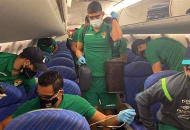 La selección llegó a Santa Cruz este lunes. Foto: Prensa FBF