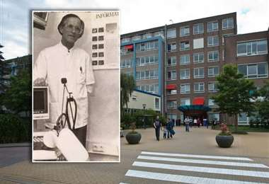 Jan Wildschut y el hospital donde trabajaba. Foto Internet