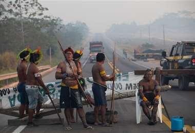 Una protesta indígena en Brasil. Foto AFP
