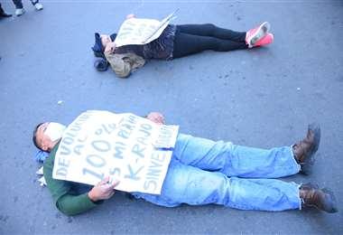 Protesta de aportantes a las AFP/Foto: APG Noticias