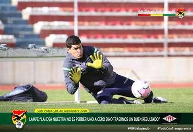Carlos Lampe, arquero de la selección nacional.  Foto: FBF