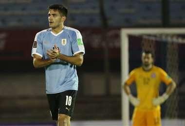 Maximiliano Gómez, autor del gol de la victoria para Uruguay. Foto: AFP