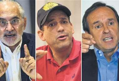 Carlos Mesa, Luis Fernando Camacho y Tuto Quiroga