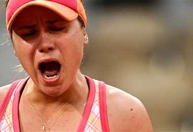La gtan expresión de júbilo de Sofía Kenin, tenista estadounidense. Foto: AFP