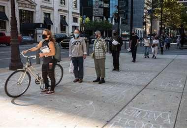 Colas para votar en Filadelfia. Foto AFP