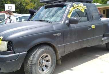 La camioneta que fue requisada por la Policía.