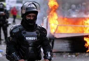 Una protesta contra la violencia policial en Colombia. Foto Internet