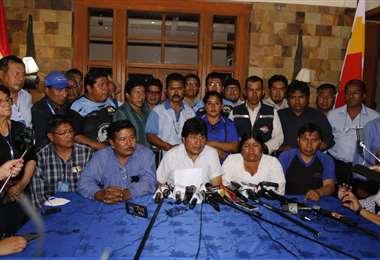 Morales en su primer reencuentro con la prensa en Cochabamba /APG