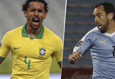 Marquinhos y Godín, dos referentes de Brasil y Uruguay, respectivamente. Foto: internet
