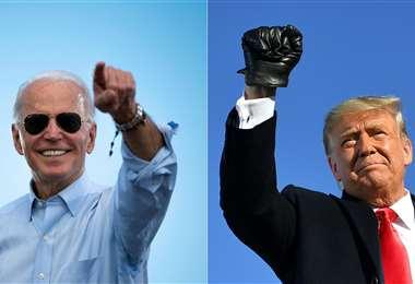 Biden y Trump en lucha. Foto AFP