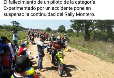 La partida de unas de las pruebas del rally de Montero. Foto: internet