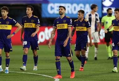Jugadores de Boca Juniors. Los xeneizes visitarán miércoles a Inter. Foto: AFP