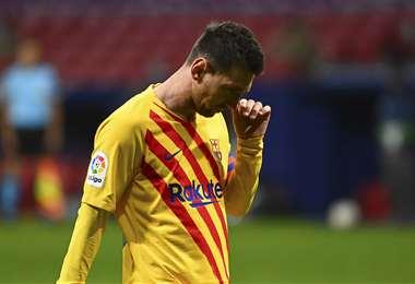 Messi estuvo presente en la derrota del Barça frente al Atlético, por LaLiga. Foto: AFP