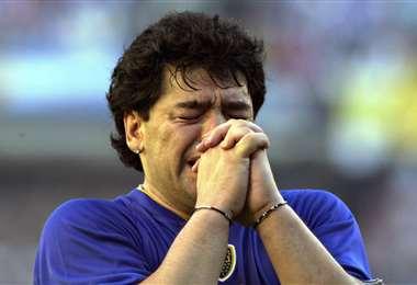 Maradona cuando se retiró I internet.