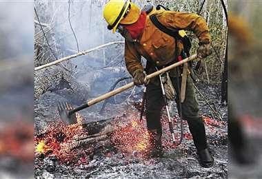 El trabajo de los bomberos forestales continúa