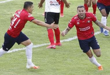 Meleán celebrando el gol de la victoria. Foto: APG
