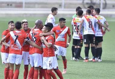 Un festejo de Nacional durante el partido contra Always Ready. Foto: APG