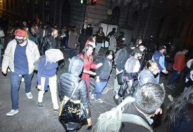 La marcha llegó cerca de plaza Murillo (Foto: APG Noticias)
