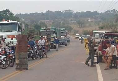 Hay bloqueo en San Javier. Foto: Magno Cornelio