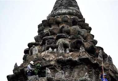 Un jardinero retira brotes de árboles del templo de Angkor Wat. Foto AFP