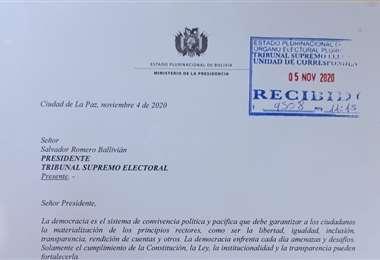 La carta enviada por Núñez.