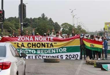 Bloqueos en la zona de La Chonta en Santa Cruz. Foto: Ricardo Montero