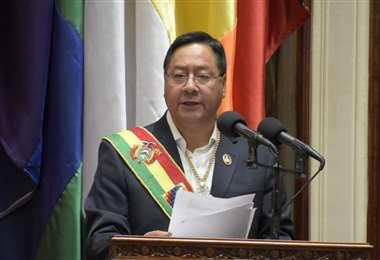 El mandatario durante su discurso.