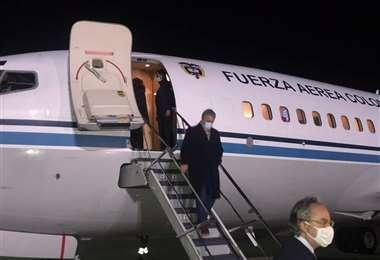 Iván Duque llegó a La Paz. Foto: ABI